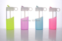 400ML The silicone jelly bottle cute portable Straw water glass bottle(China)