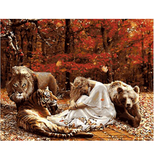 Digital Diy oil painting by numbers animals girl wall decor picture on canvas oil paint coloring by number drawing craft 8029(China)