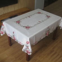 "New Elegant 54*72"" Satin Floral Embroidery Tablecloths Embroidered Pink Flower Table Cloth Towel Overlay Cover Home Textile"