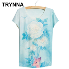 Chic-U New 2016 summer cartoon lovely bird deer animal tree printing blue color cotton Casual slim t shirt women's clothing tops