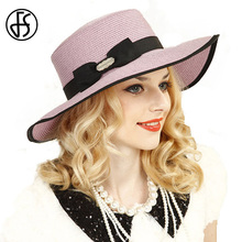 FS Elegant Pink Summer Straw Hats For Women Beach Large Wide Brim Floppy Sun Hat Visor Caps(China)