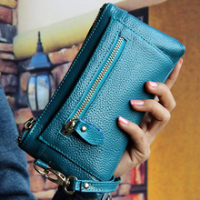 can track! 2016 New Fashion Women top Leather Bags long Day Clutches+Wristlet Evening Multifunction Handag famous brand designer(China)