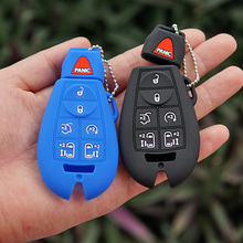 silicone rubber car key fob cover case protect For Chrysler Town Country for Jeep Commander Dodge Grand Caravan Remote keyless