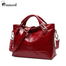 Women Oil Wax Leather Designer Handbags High Quality Shoulder Bags Ladies Handbags Fashion brand PU leather women bags WLHB1398(China)