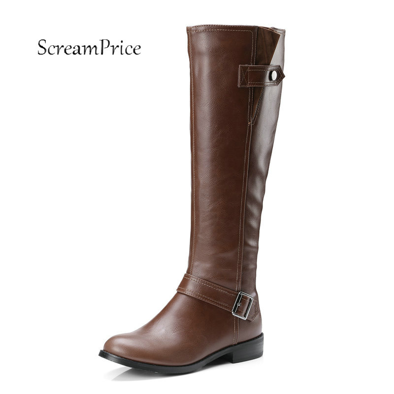 Womens Riding Square Low Heel Motocryle PU Leather Boots Punk Women Shoes High Quality Knee High Boots 34-43<br>