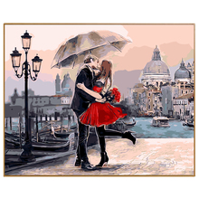 PHKV Red Umbrella Loves DIY Painting By Numbers Hand ainted Canvas Painting Home Wall Art Picture For Living Room Unique Gift(China)