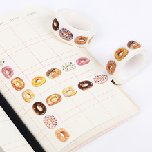 2PCS DIY Self-adhesive Donut Washi Paper Tape Sticker Birthday Festival Diary Decoration Student Adhesive Tape Stationery