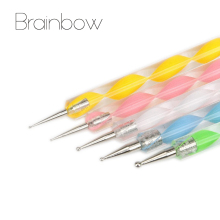 Brainbow 5pcs 2-Way Nail Art Dotting Pens Nail Polish Pen Drill Point Pen Aluminum Marbleizing Painting Dot DIY Nail Art Tools(China)