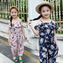kids summer floral print jumpsuits for girls bohemian rompers kids pants brand one-piece garment girl clothes 4 6 8 10 12 years