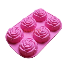 DIY silicone molds 6 lattices rose cake pudding molds soap moulds SSCM-001-25