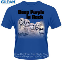 New Brand-Clothing T Shirts Gildan Short Deep Purple In Rock Short O-Neck T Shirts For Men