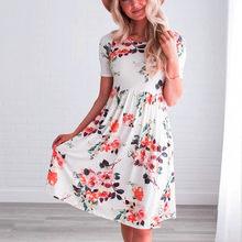 (Ship from US) 2018 Summer Dress Women Fashion Casual Short Sleeve O-neck  Flower Printing Dresses Casual Sundress Dress vestidos Dropshipping 2c9cec194fd8