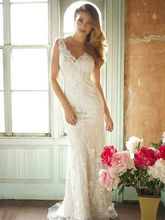 Hot Sale Mermaid V Neck Wedding Dresses White Ivory Lace Bridal Gown Custom Make Size 2 4 6 8 10 12 14 16 16w 18w 20w 22w 24w