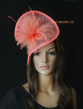 NEW 20 colors Coral pink Feather sinamay fascinator hat for wedding,ascot races,kentucky derby,melbourne cup,party.