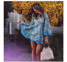 fashion lace one-piece dress short  spring and summer flower beautiful newo-neck flare sleeve  drop shipping