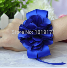 Prom 6pc Handmade Boutonniere Fabric Wedding Church Decor Marriage Artificial Rose Wrist Flower Corsage Bracelet Royal Blue F019(China)