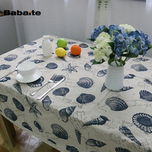 Babaite Mediterranean Vintage Style Sea Shells Conch Home Dinner Table Tablecloth Cotton Linen Tablecloths Party Table Cover Art(China)