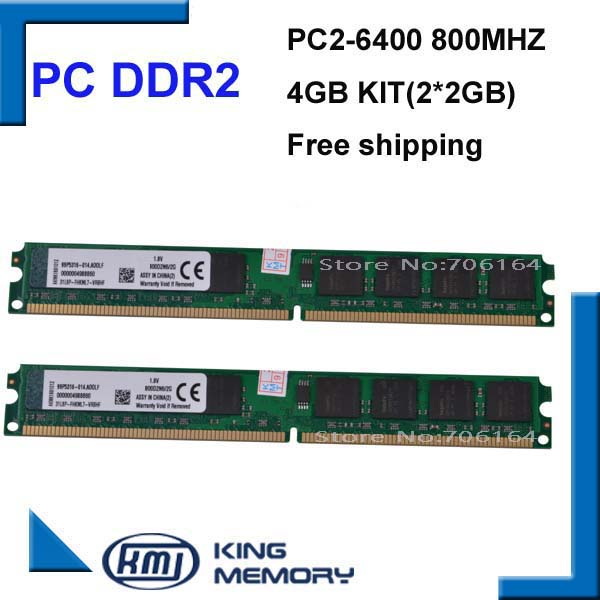 free shipping DDR2 4GB kit(2*DDR2 2GB) 800MHZ PC6400 LONGDIMM 8bits work for all intel and A-M-D motherboard<br><br>Aliexpress
