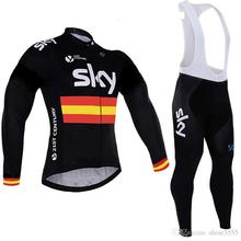 BOESTALK 2017 team sky cycling clothing Long sleeves warm wool winter outdoor training kit mtb bike(China)