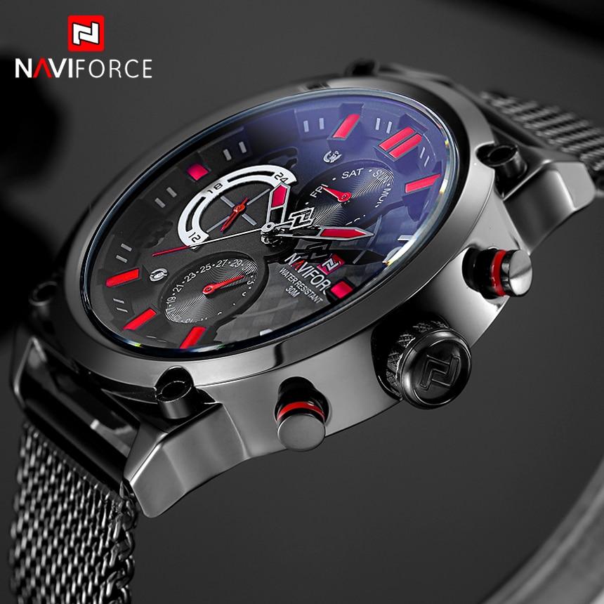 NAVIFORCE Brand Black Fashion Mesh Steel Mens Quartz Watch 24 Hour Date Clock Male Sport Military Wristwatches Relogio Masculino<br>
