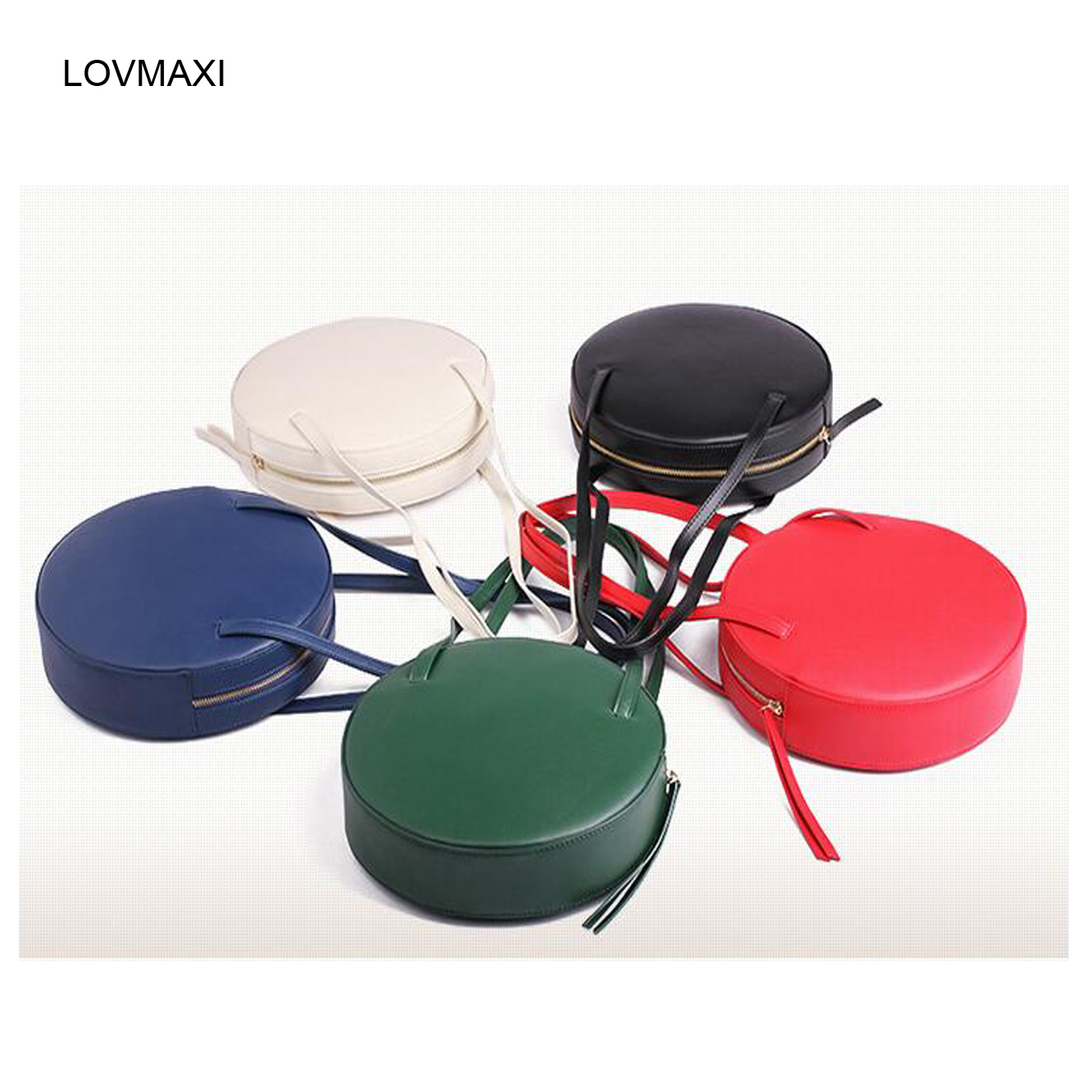 New womens round bags leather circle box handbags messenger bag for lady causal shoulder bags portable bag<br>