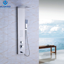 Ulgksd Wholesale and Retail Bathroom Waterfall Rain Shower Panel Shower Column Jets Tub Hand Shower Set  With Massage Tub Spout