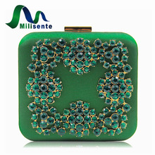 Milisente New Retro Wind Satin Fabric Women Purse Evening Bags Blue Diamond Box Clutch Ladies Wedding Purses Party Bag(China)