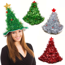 1Pc Tinsel Christmas Tree Hat On Headband Father Christmas Xmas Party Santa Fancy Dress Costume Hat Holiday Decorations Headgear