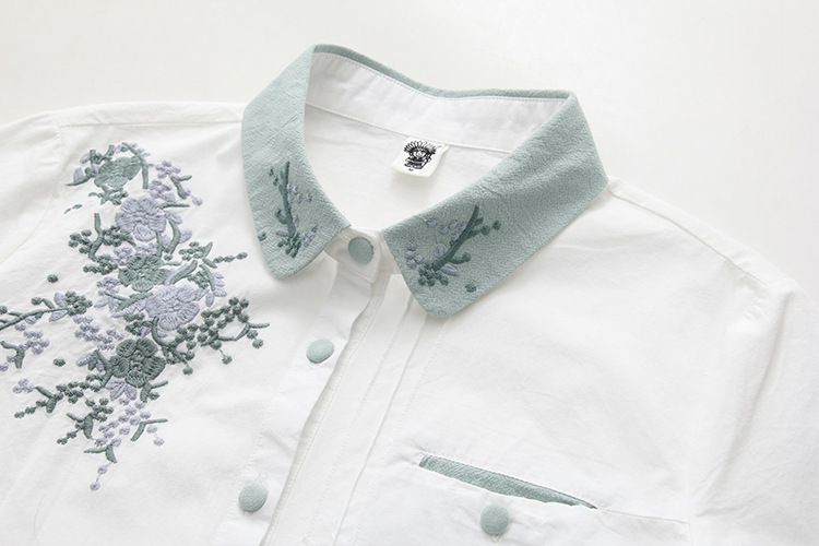 Floral Embroidery White Blouse 16