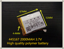 best battery brand Free shipping 3.7V,2000mAH,[445167] PLIB; polymer lithium ion / Li-ion battery for tablet pc,mp3,mp4,cell pho