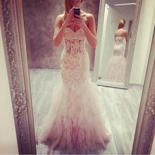 Wedding Dress Bohemian 2017 Romantic Mermaid Lace Style Bridal Gowns Sweetheart Appliques Layers Tulle See Through   Dresses