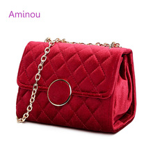 Aminou Luxury Women Velour Shoulder Bags For Teenager Girls Chains Messenger Handbags Promotional Ladies Woman Crossbody Bag(China)