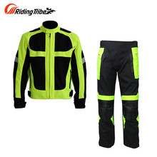 Riding Tribe Breathable Summer Motorcycle Protective Jacket +Hip Protector Pants Kits Motorcycle Racing Suits Jacket & pants(China)