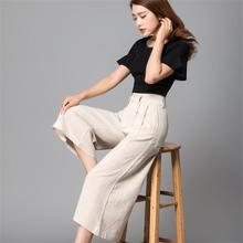 Free Shipping New Arrival 2017 High Quality Women's Summer Linen Cotton Fashion wide leg culottes pants Thin Capris Large Size