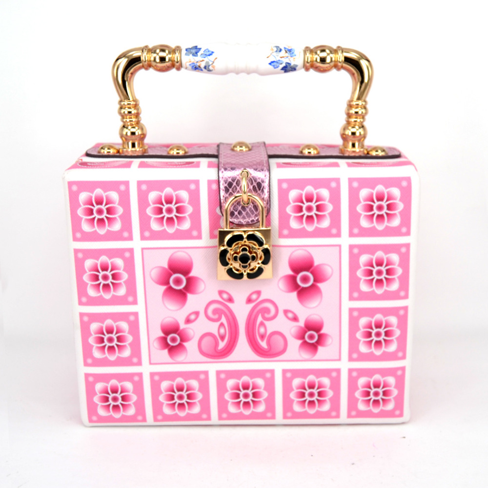 New style fashion design elegant pink printing ceramic handle printed metal buckle PU mini box bag mini messenger bag tote purse<br>