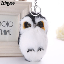 ISINYEE 2017 Cute Fluffy Owl KeyChains For Women Pluff Toy Doll Bag Car Key Ring Handmade Faux Bunny Rabbit Fur Pompoms Keychain