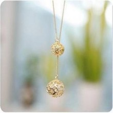 2016 Hot Korean Fashion Classic Rhinestone Crystal Hollow Two Goals High Texture Flash Ball Long Necklace Wholesale Women(China)