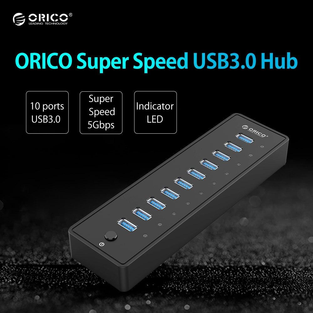 ORICO USB HUB P10-U3 5Gbps 10 Ports USB3.0 HUB with VL812 12V4A EU/UK Power Adapter for Windows 8/Mac/Notebook/Ultrabook<br>