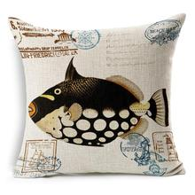 "6 Types New 18"" Hand-Painted Ocean Marine Tropical Fish Throw Pillow Cover Beach Cushion Cover Home Decorative Pillowcases"