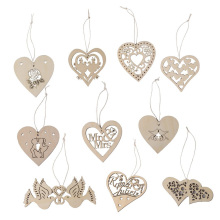 10pcs Wooden Hollow Flower Hearts with String Hanging Wedding Decorations Scrapbook Embellishments
