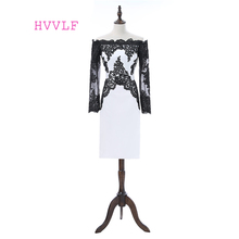 Black White 2017 Elegant Cocktail Dresses Sheath Long Sleeves Knee Length Appliques Lace Homecoming Dresses(China)