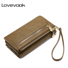 LOVEVOOK brand wallet female long purse with wrist strap, double zipper multifunctional wallet coin pocket card holder 4 colors