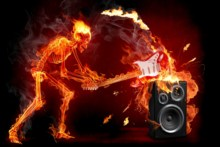 Flame Skull guitarist speaker Living room home art decor wood frame fabric poster(Accept customization)DM441(China)