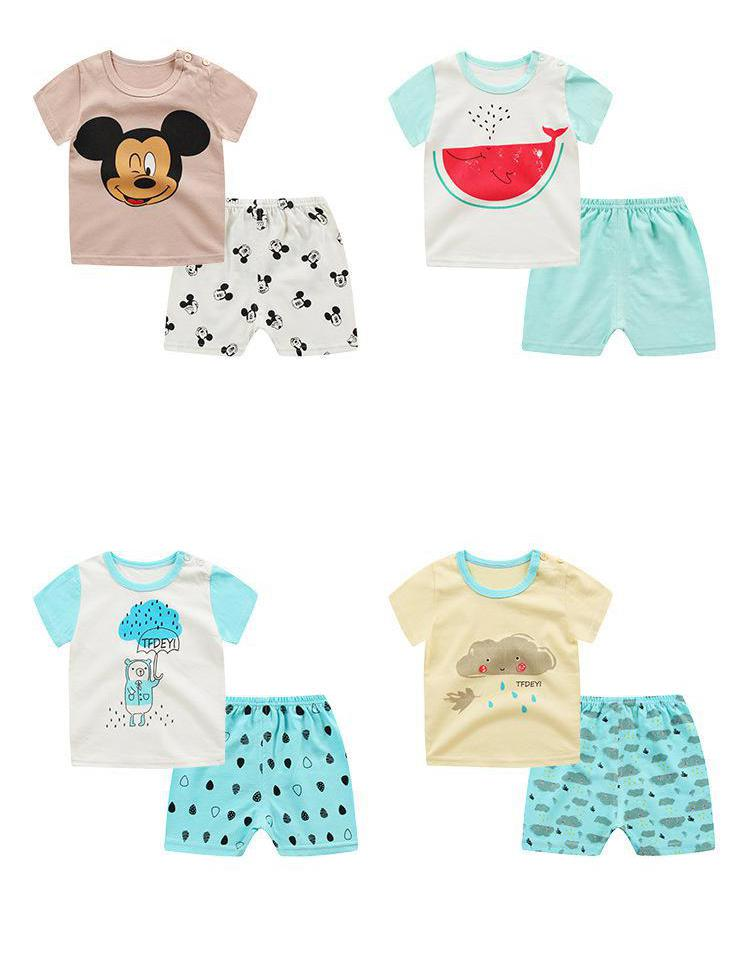 New Children's Wear,kids Short Sleeved T-shirt + Shorts Mickey For Boys And Girls Clothing Set 12m-4 Years 24