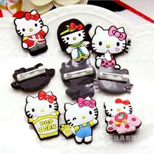 100pcs/lot Kawaii Hello Kitty Badge PVC Action Figures Anime Figurines Classic Collectibles Kids Toys
