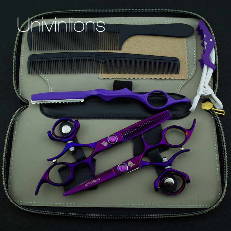 5.5 hot titanium purple flying shears swivel thumb shears rotary hair scissors hairdressing fly scissors hairdresser supplies<br>