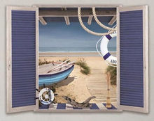 3D Beach Boat Window View Removable Wall Sticker Vinyl Decal Art Mural Decor DIY