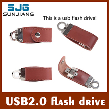 Genuine USB flash drive  Capacity Genuine Leather pendrive 64GB 32GB 16GB 8GB 4G pen drive  memory stick with Key Chain HOT sale