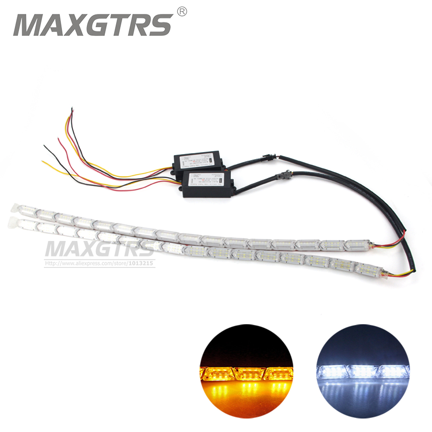 2x Car Flexible DRL White/Amber Switchback LED Knight Rider Strip Light Headlight Sequential Flasher DRL Turn Signal Waterproof<br><br>Aliexpress