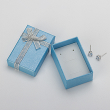 4x6x2.5cm Small Jewelry Sets Box High Quality Light Blue Necklace Earrings Ring jewelry Display and packaging Box 40pcs